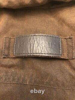 Barbour wax Jacket Large mens Drover Vintage 2000 Brown With Leather Collar