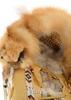 Beautiful 39 Vintage Fox, Rabbit Fur, Horse Hair Leather Cradle Board