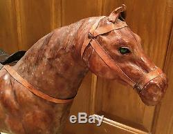 Beautiful Vintage 26 x 29 inch Leather Horse Sculpture Figure with Glass Eyes