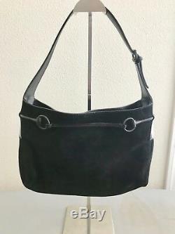 Beautiful Vintage GUCCI Suede Shoulder Bag withLeather Horse Bit Details EUC
