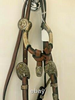 Beautiful Vintage Jones Leather Horse Headstall with sterling silver overlay an