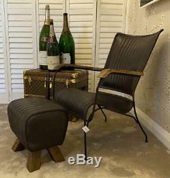 Black Leather Stool / Footstool Wood Legs Pommel Horse Style Retro Vintage