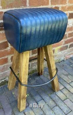 Blue Leather Bar Counter Stool Wood Legs Pommel Horse Style Retro Vintage