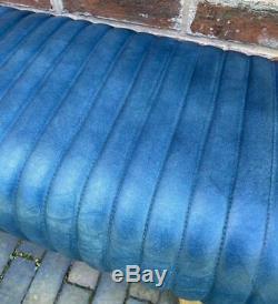 Blue Leather Bench Wood Legs Pommel Horse Style Retro Vintage