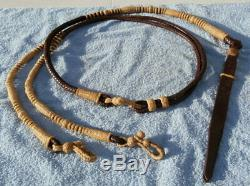 Braided Latigo Leather Lots of Rawhide Buttons Vintage Horse Show Romal Reins