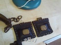 Brass Carriage Lamps, Horse Hames Vintage Heavy Leather Collar/Harness/Blinkers+
