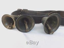 Bronze Horse Sleigh Bells Brown Leather Strap Antique Vintage 3 Bells