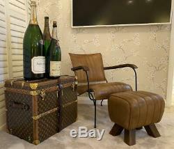 Brown Leather Stool / Footstool Wood Legs Pommel Horse Style Retro Vintage