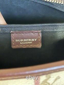 Burberry Haymarket Check & Brown Leather Trim Medium Shoulder Bag Vintage