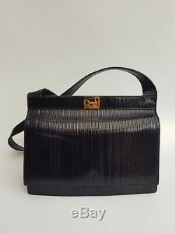 CELINE Bag. Céline Vintage Black Leather Horse Carriage Shoulder Bag