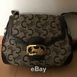 CELINE Gold Horse Carriage Shoulder Bag Brown Leather Vintage Used