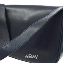CELINE Horse Carriage Cross Body Shoulder Bag Navy Leather Vintage AK38685