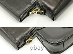 CELINE Horse Carriage Leather Shoulder Crossbody Bag Pochette Black Gold Vintage