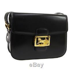 CELINE Horse Carriage Logos Cross Body Shoulder Bag Black Leather Vintage R11775