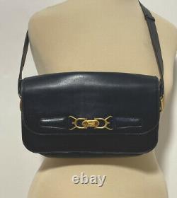 CELINE Horse Carriage Logos Cross Body Shoulder Bag night blue Leather Vintage