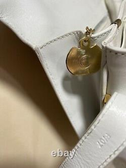 CELINE Horse Carriage Logos Cross Body Shoulder Bag white Leather Vintage F/07