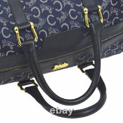 CELINE Horse Carriage Logos Hand Bag Navy Canvas Leather Vintage AK38056d