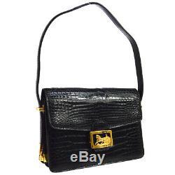 CELINE Horse Carriage Logos Shoulder Bag Black Crocodile Leather Vintage JT08821