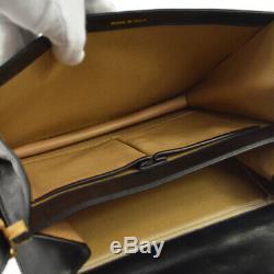 CELINE Horse Carriage Logos Shoulder Bag Black Leather Vintage F/08 AK42386