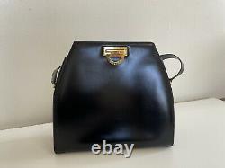 CELINE Horse Carriage Shoulder Bag Black Gold Leather Vintage Italy 33316