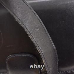 CELINE Horse Carriage Shoulder Bag Black Gold Leather Vintage Italy AK38176k
