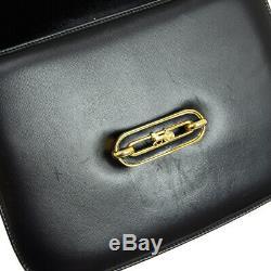 CELINE Horse Carriage Shoulder Bag Black Gold Leather Vintage Italy Auth O02528