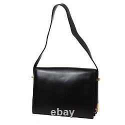 CELINE Horse Carriage Shoulder Bag F/09 Purse Black Leather Vintage Italy 30431