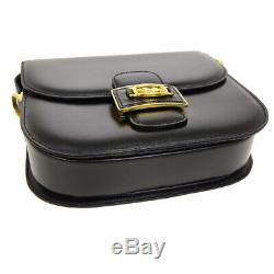 CELINE Horse Carriage Shoulder Bag Purse Black Leather Vintage Italy JT08629