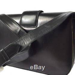CELINE Horse Carriage Shoulder Bag Purse Black Leather Vintage Italy S09323