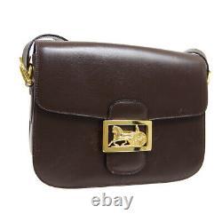 CELINE Horse Carriage Shoulder Bag Purse Dark Brown Leather Vintage Italy 31025