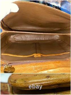CELINE SULKY Shoulder Bag Brown Ostrich Leather Gold Horse Buckle Flap Vintage