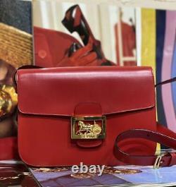 CELINE SULKY Shoulder Bag Red Leather Gold Horse Carriage Buckle Flap Vintage