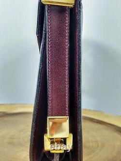 CELINE Shoulder Box Bag Red Wine Leather Gold Horse Carriage Vintage