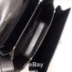CELINE Vintage Carriage Horse Motif Shoulder Bag Black Leather Ex++