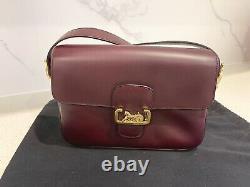 CELINE Vintage Horse Carriage Cross Body / Shoulder Bag Burgundy Red