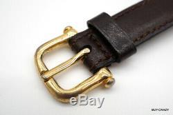 CELINE Vintage Horse Carriage Motif Belt Waist Mark Leather Brown 1727k