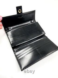 CELINE Vintage Horse Carriage Wallet/Purse Black Leather