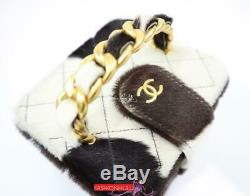 CHANEL Vintage Cow Print Horse Pony Hair Handle Mini Jewelry Vanity Case Bag