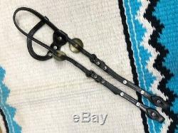 CIRCLE Y Vintage Dark Oil Western Horse Headstall Bridle w Silver Conchos & Bars