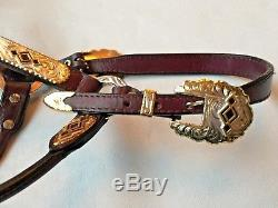 CIRCLE Y Vintage Western Show Halter Silver/Gold/Black Horse/2 Yr. Old Size