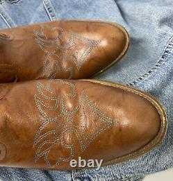 COOL 70s Vintage Dingo Womens Leather Western Cowboy Boho Boots Butterfly 8.5