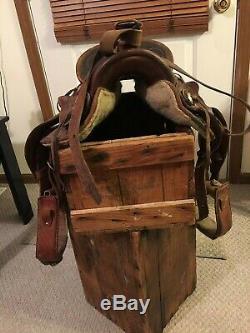COWBOY BRAND Big Horn 12 horse SADDLE Leather vintage #11 Youth Child Adult
