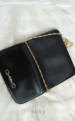 Celine 1980s Vintage Black Leather Horse And Carriage Gold Chain Purse