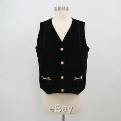 Celine Vest Suede Leather F44 US12 Black Vintage Gold Buttons Horse Bit Buckles