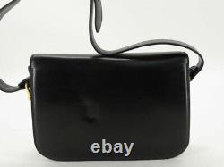 Celine Vintage Horse Carriage Black Leather Shoulder Bag Ey551