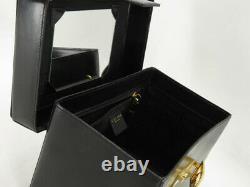 Celine Vintage Horse Carriage Black Leather Vanity Hand Bag Ey351