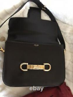 Celine Vintage Horse Carriage Dark Brown Leather Shoulder Bag Ey462