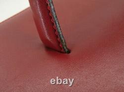 Celine Vintage Horse Carriage Red Leather Vanity Hand Bag Ey538