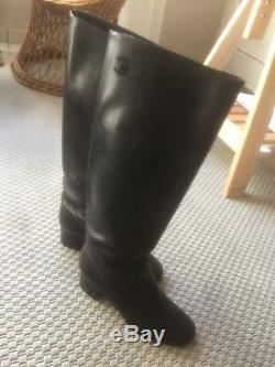 Chanel vintage black knee high horse riding style boots Size 38