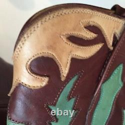 Charlie Horse Women's Cowboy Boots Leather Ankle Snip Toe Inlay Vintage 6.5B